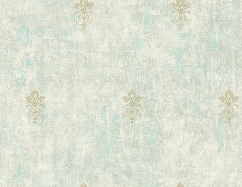 Vintage Fleur de lis Wallpaper in Seafoam from the Vintage Home 2 Collection by Wallquest