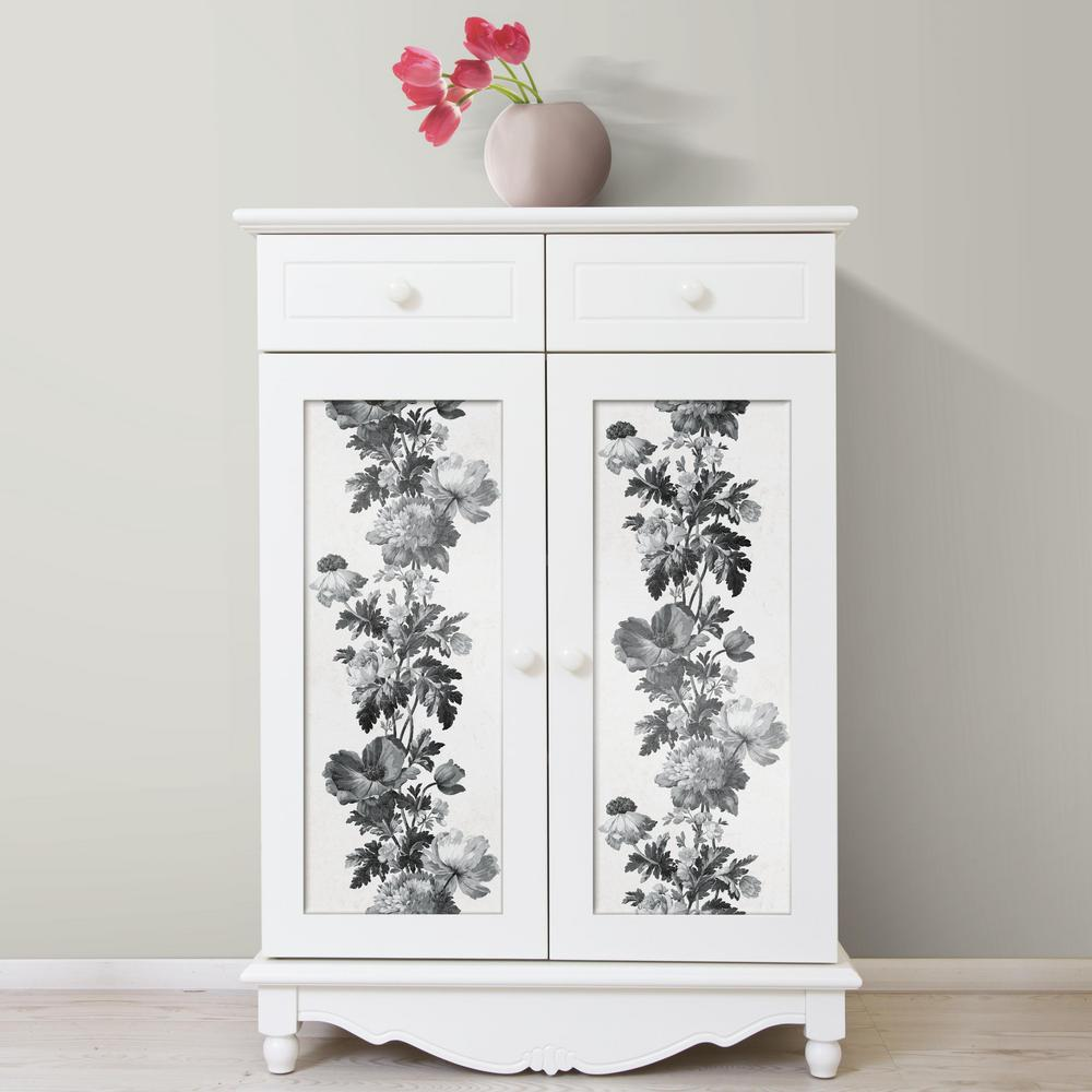 Vintage Floral Stripe Peel Stick Wallpaper In Black And White By