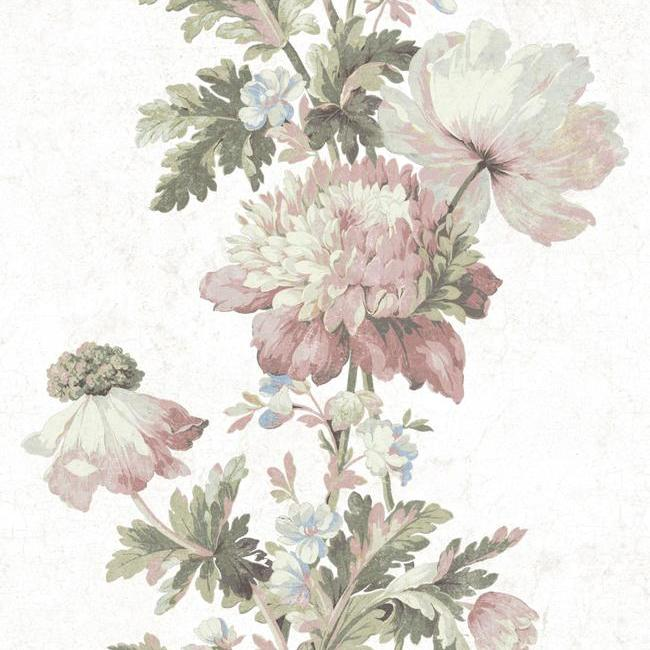 Sample Vintage Floral Stripe Peel & Stick Wallpaper in Pink by RoomMates for York Wallcoverings