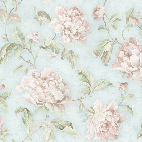 Vintage Floral Trail Wallpaper in Spring Blue from the Vintage Home 2 Collection by Wallquest