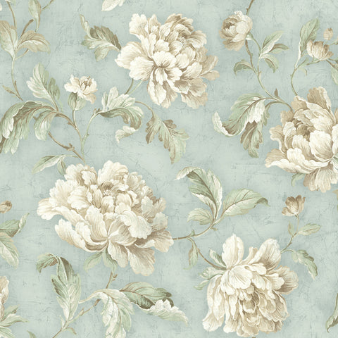 Vintage Floral Trail Wallpaper in Vintage Blue from the Vintage Home 2 Collection by Wallquest