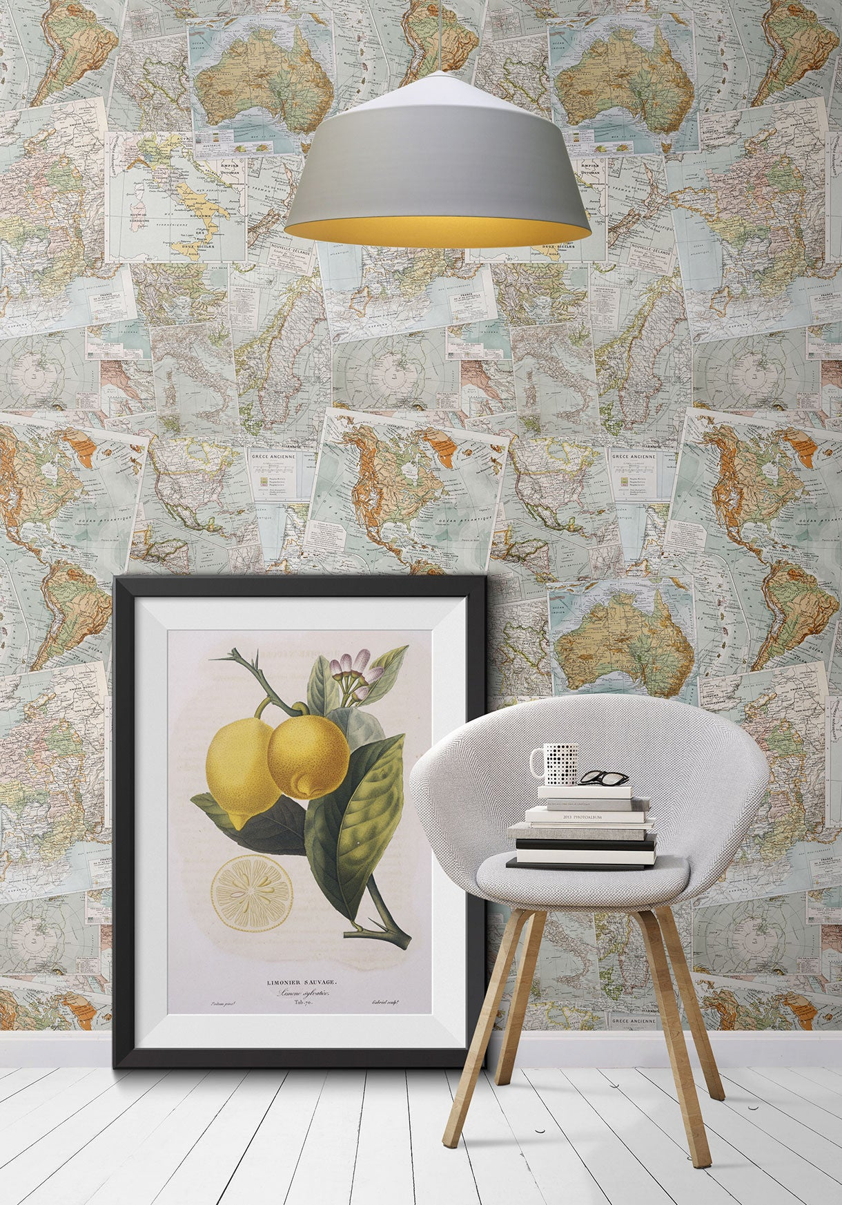 Vintage french maps boutique faux wallpaper design by for Old french wallpaper