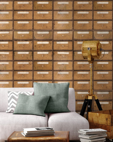 Vintage Pharmacy Wallpaper in Brown and White from the Eclectic Collection by Mind the Gap