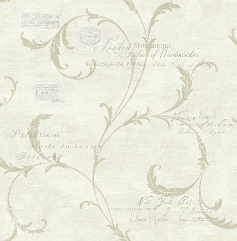 Vintage Scroll Wallpaper in Antique Gold from the Vintage Home 2 Collection by Wallquest