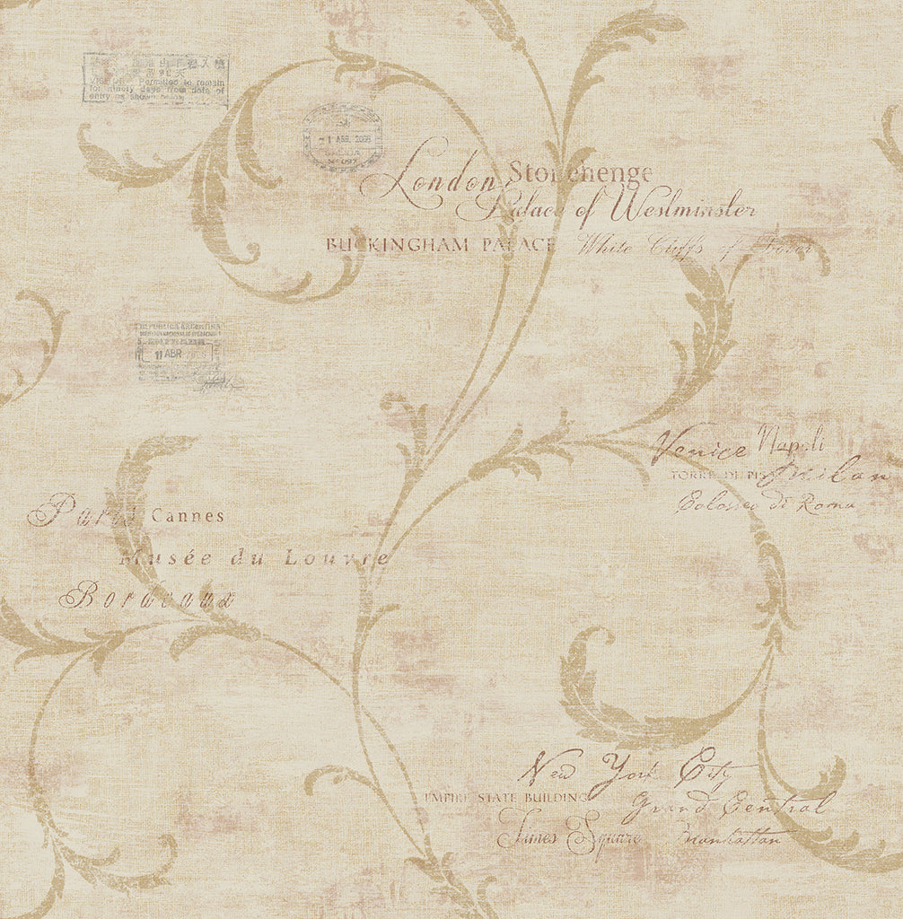 Sample Vintage Scroll Wallpaper in Sienna from the Vintage Home 2 Collection by Wallquest