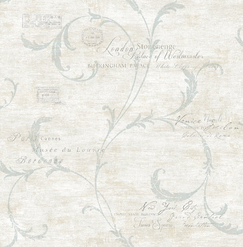 Vintage Scroll Wallpaper in Vintage Blue from the Vintage Home 2 Collection by Wallquest