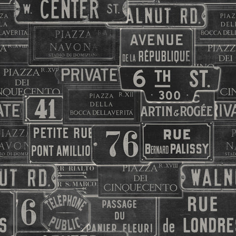 Vintage Signs Wallpaper in Anthracite from the Eclectic Collection by Mind the Gap
