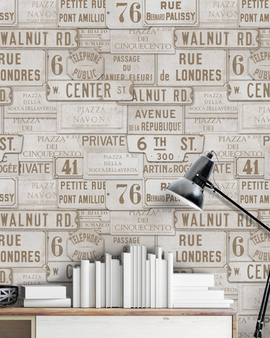 Vintage Signs Wallpaper in Sepia from the Eclectic Collection by Mind the Gap