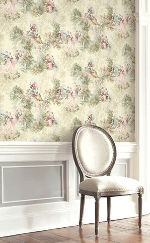Vintage Toile Wallpaper from the Vintage Home 2 Collection by Wallquest