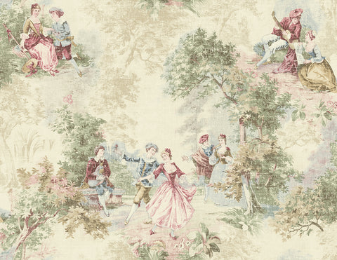 Vintage Toile Wallpaper in Classic Red from the Vintage Home 2 Collection by Wallquest