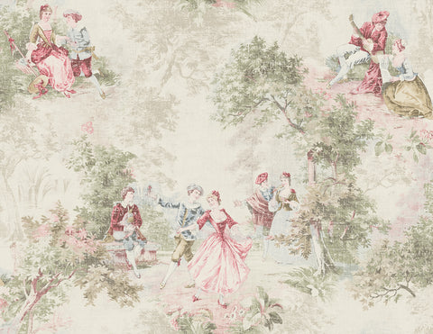 Vintage Toile Wallpaper in Vintage Pink from the Vintage Home 2 Collection by Wallquest