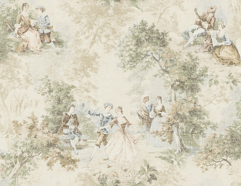 Vintage Toile Wallpaper in Warm Neutral from the Vintage Home 2 Collection by Wallquest