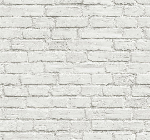 Vintage White Brick Peel-and-Stick Wallpaper by NextWall