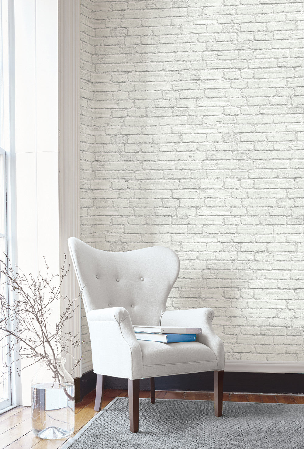 Vintage White Brick Peel And Stick Wallpaper By Nextwall