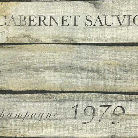 Vintage Wine Crate Wallpaper in Metallic and Neutral from the Precious Elements Collection by Burke Decor