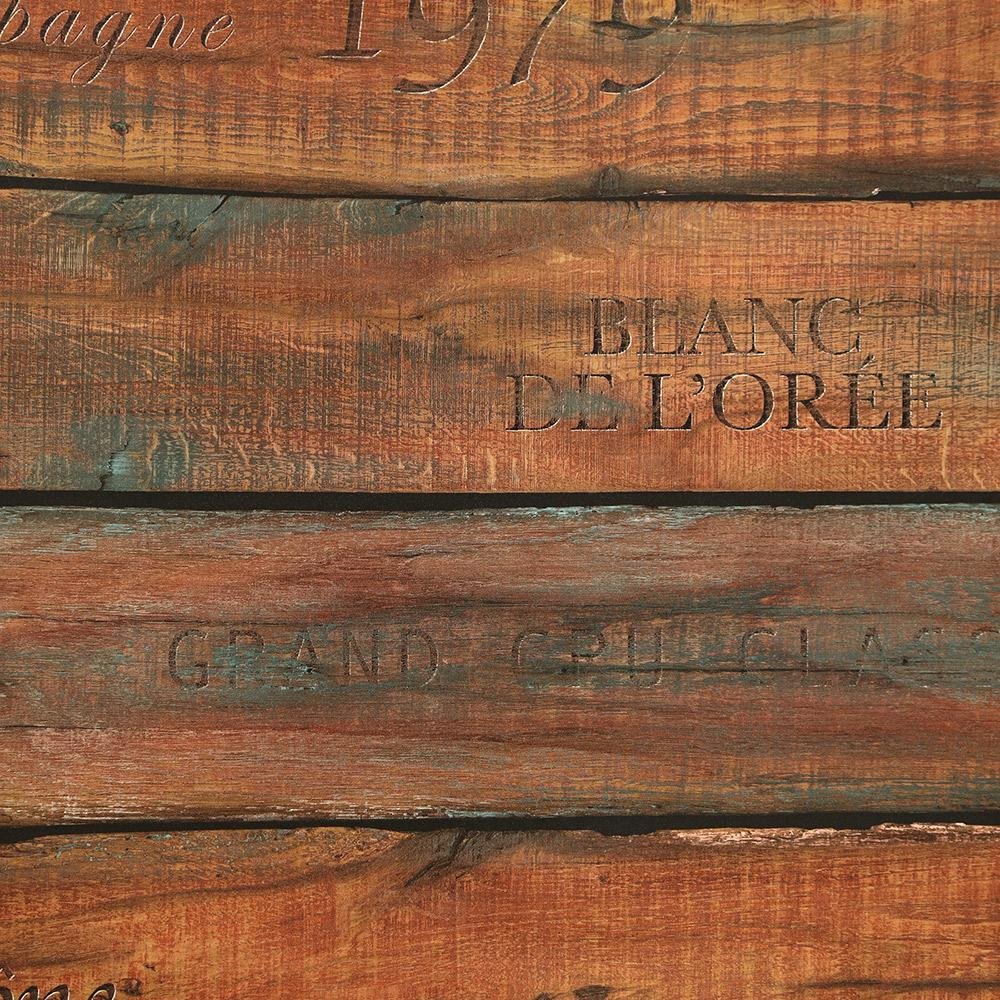 Sample Vintage Wine Crate Wallpaper in Teak from the Precious Elements Collection by Burke Decor