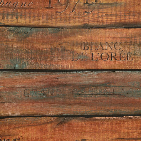 Vintage Wine Crate Wallpaper in Teak from the Precious Elements Collection by Burke Decor