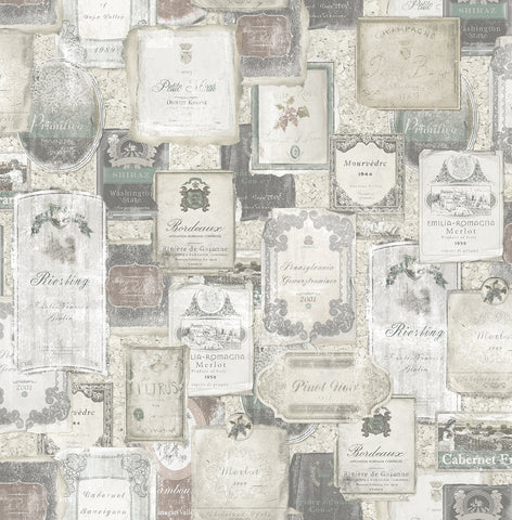 Vintage Wine Wallpaper in Aged Neutral from the Vintage Home 2 Collection by Wallquest