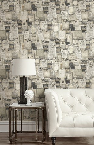 Vintage Wine Wallpaper in Charcoal from the Vintage Home 2 Collection by Wallquest