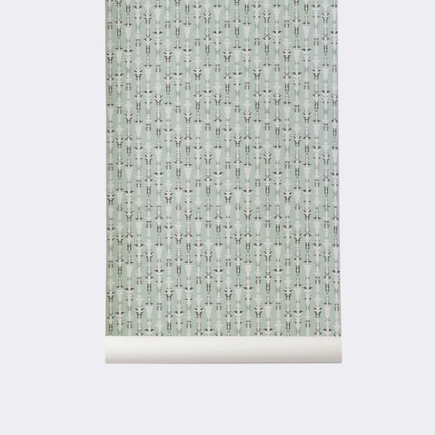 Sample Vivid Wallpaper in Mint by Ferm Living