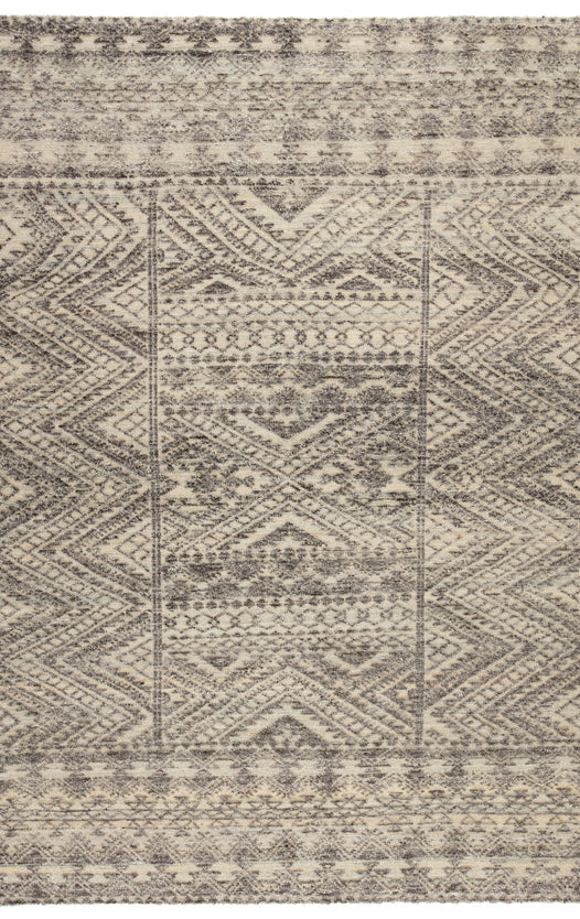 Prentice Hand-Knotted Geometric Dark Gray & Taupe Area Rug