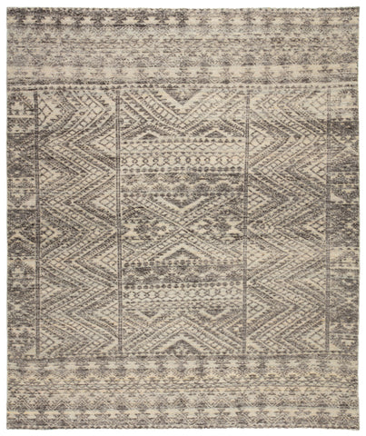 Prentice Hand-Knotted Geometric Dark Gray/ Taupe Area Rug by Jaipur Living