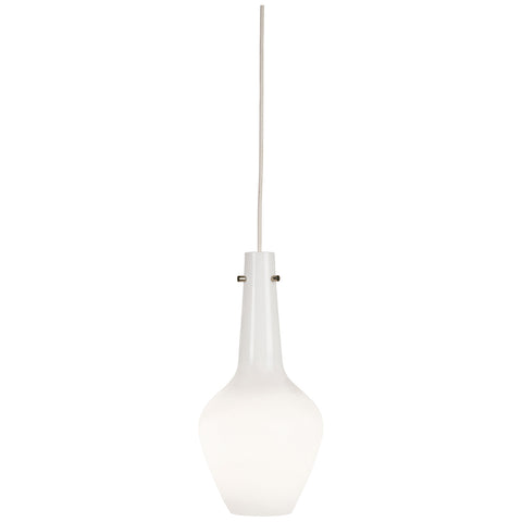 Jonathan Adler Capri Pendant in White Cased Glass w/ Polished Nickel Accents design by Jonathan Adler