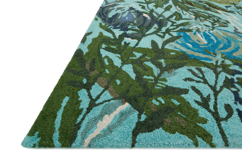 Wild Bloom Rug in Aqua & Green by Loloi