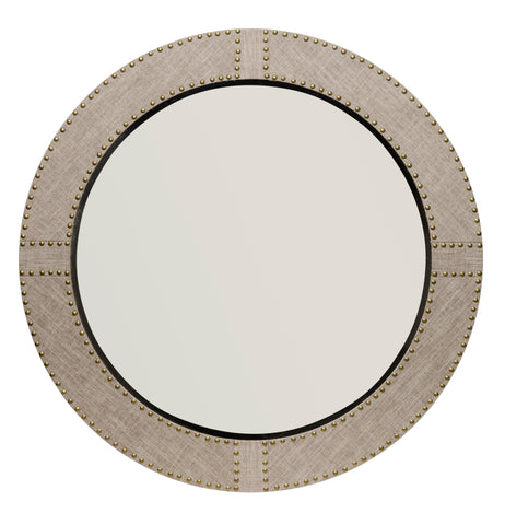 Cait Linen Round Mirror design by Jamie Young