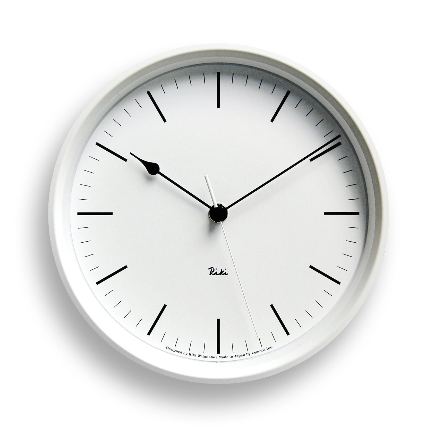 Riki Steel Line Clock in White design by Lemnos
