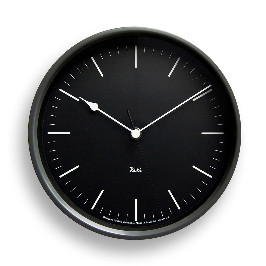 Riki Steel Line Clock in Black design by Lemnos