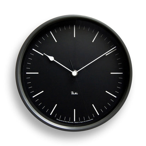 Riki Steel Line Clock in Black