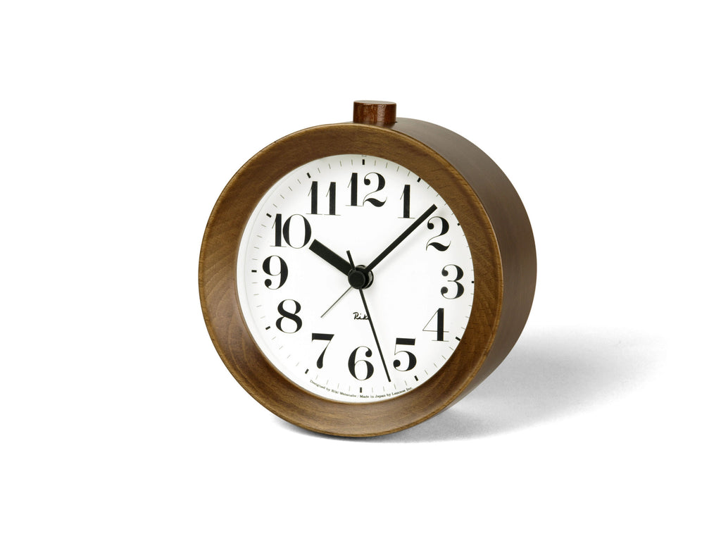 Riki Wood Alarm Clock in Brown design by Lemnos