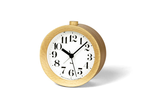 Riki Wood Alarm Clock in Natural design by Lemnos