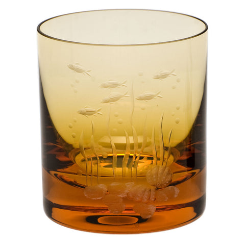 Ocean Life Color Whisky Double Old Fashioned Glass in Various Colors design by Moser
