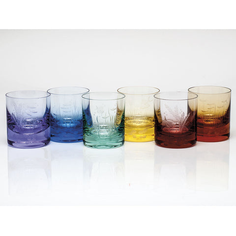 Set of 6 Ocean Life Color Whisky Double Old Fashioned Glasses design by Moser