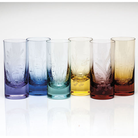 Set of 6 Ocean Life Color Hiball Glasses design by Moser
