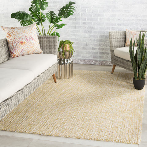 Jardin Indoor/ Outdoor Solid Ochre/ White Rug by Jaipur Living