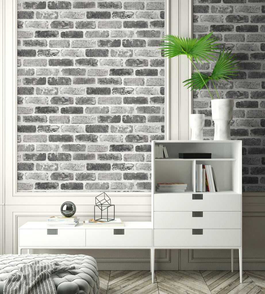 Washed Faux Brick Peel-and-Stick Wallpaper in Greys by NextWall