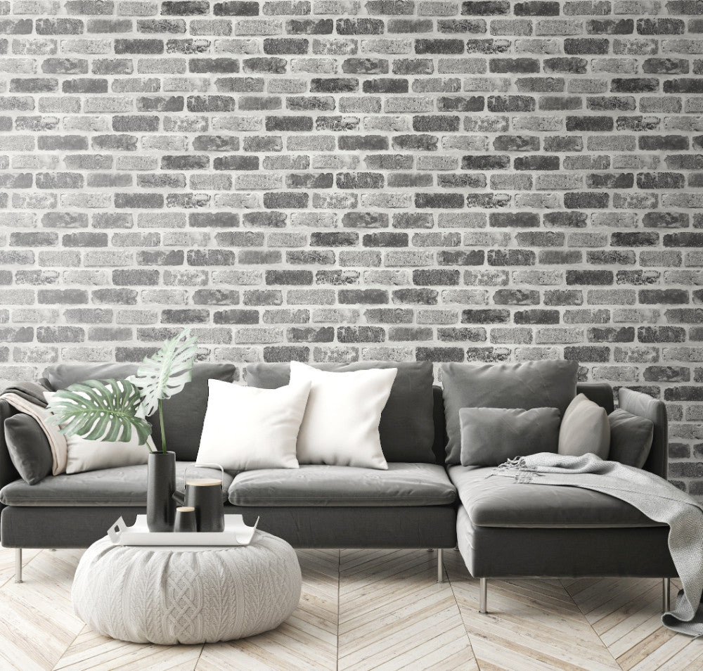 Washed Faux Brick Peel And Stick Wallpaper In Greys By Nextwall