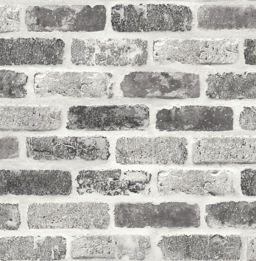 Sample Washed Faux Brick Peel-and-Stick Wallpaper in Greys by NextWall