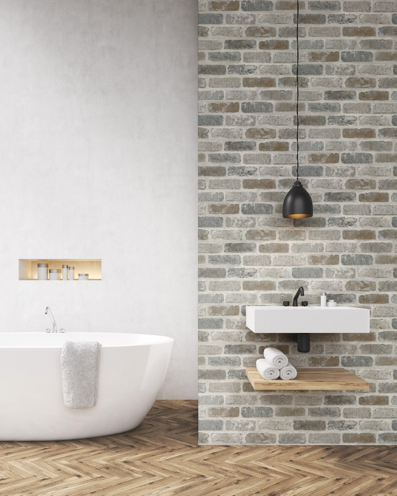 Washed Faux Brick Peel-and-Stick Wallpaper in Neutrals by NextWall