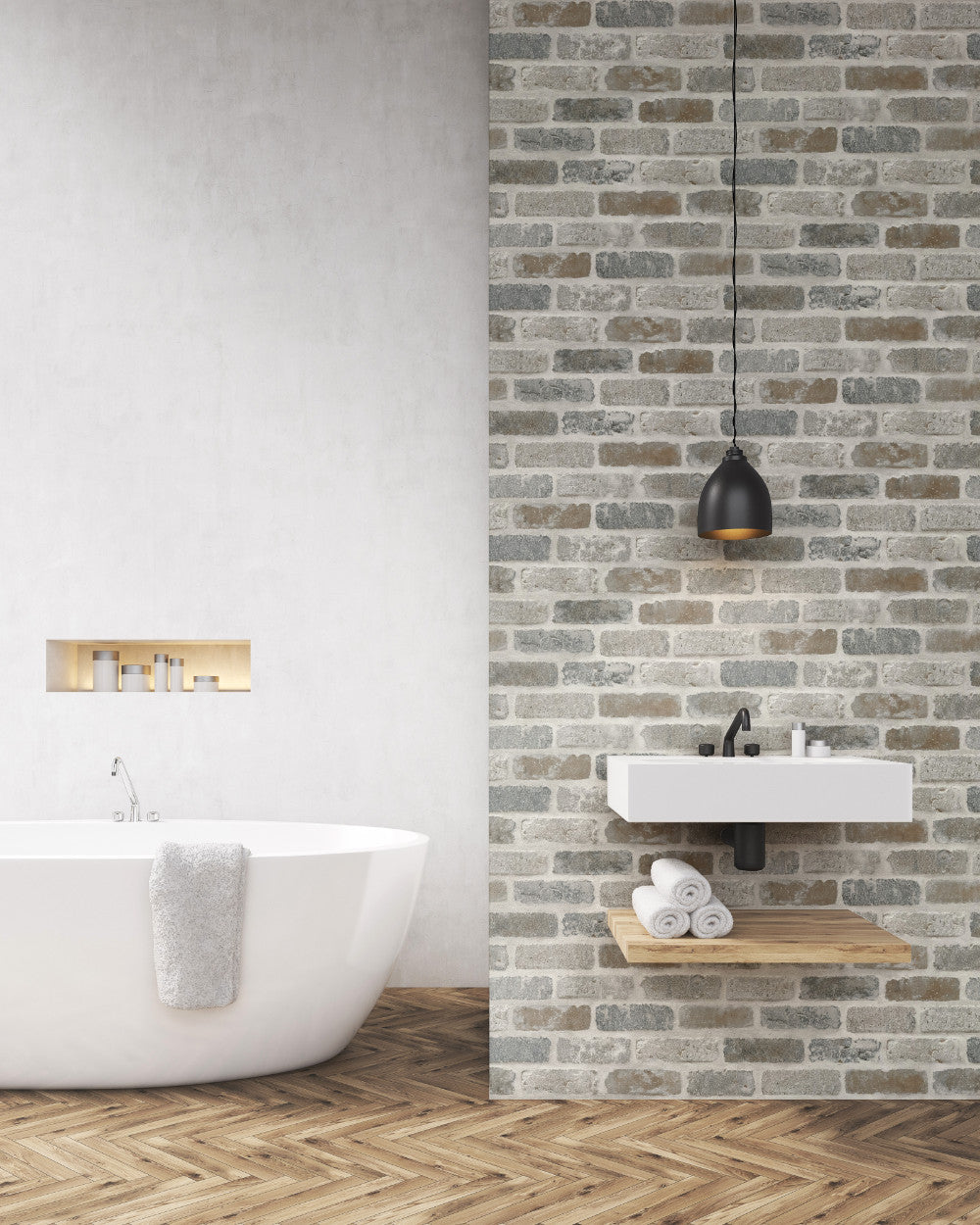 - Washed Faux Brick Peel-and-Stick Wallpaper In Neutrals By NextWall