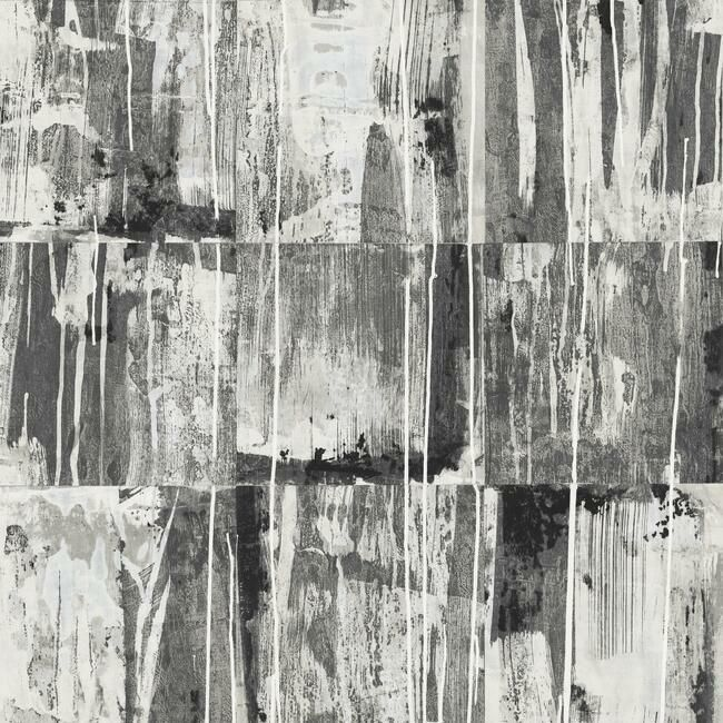 Sample Washout Peel & Stick Wallpaper in Black by RoomMates for York Wallcoverings