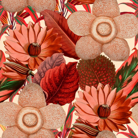 Water Lilies Wallpaper in Red and Taupe from the Florilegium Collection by Mind the Gap