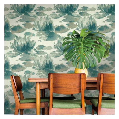 Water Lily Wallpaper in Green from the Botanical Dreams Collection by Candice Olson for York Wallcoverings