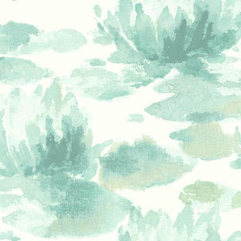 Water Lily Wallpaper in Blue from the Botanical Dreams Collection by Candice Olson for York Wallcoverings