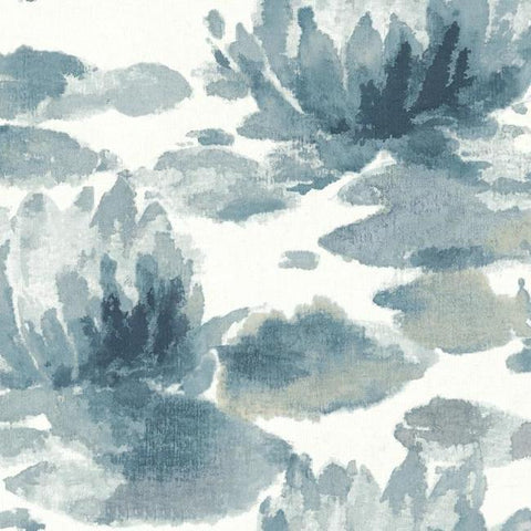 Water Lily Wallpaper in Dark Blue from the Botanical Dreams Collection by Candice Olson for York Wallcoverings