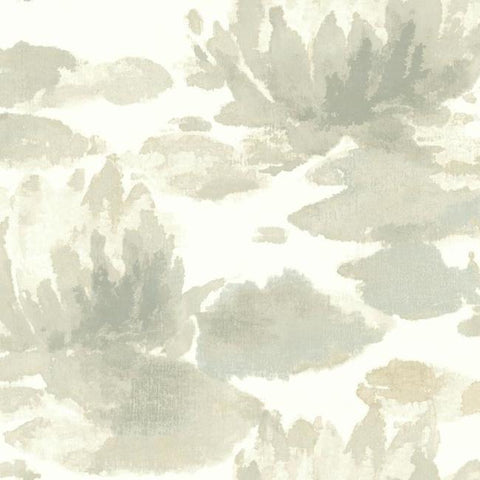 Water Lily Wallpaper in Grey from the Botanical Dreams Collection by Candice Olson for York Wallcoverings