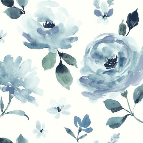 Watercolor Blooms Peel & Stick Wallpaper in Blue by York Wallcoverings